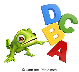 fun Chameleon cartoon character with ABCD sign - 3d rendered...