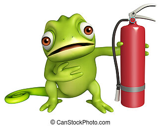 fun Chameleon cartoon character with fire extinguisher - 3d...