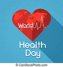 Red Heart Shape With World Map Cardiogram Beat Health Day