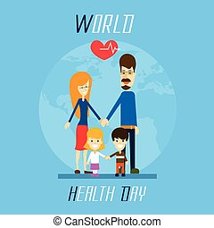 Health Day Family Holding Hands Over World Globe Heart Shape...