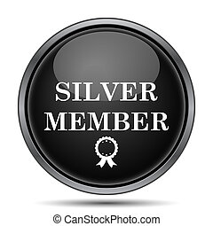 Silver member icon Internet button on white background