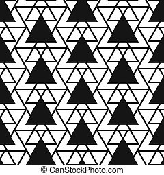 Simple triangle net shape black and white seamless pattern -...