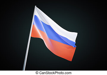 Russian flag on black background - Waving russian flag...