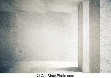 Concrete wall in interior - Sunlit interior with blank...