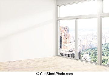 White loft interior - Loft interior design with blank white...