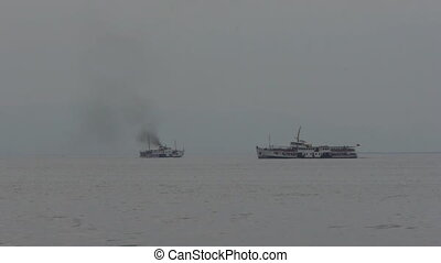Ship. - Monotone soft seascape with ship. Black smoke.