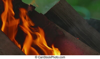 Wood burning close-up - Wood burning in the brazier, outdoor...