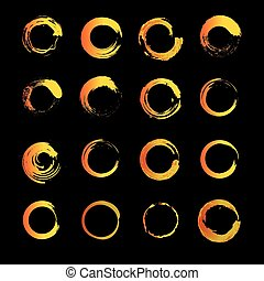 Set of vector icons, and logos depicting the solar circle. Modern styling sun. Collection of logos and icons of gold, orange and yellow colors.