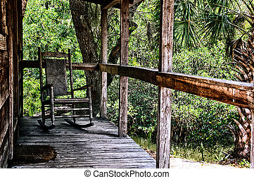 old rocking chair on porch