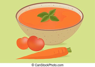 tomato soup in a bowl with a tomato and a carrot