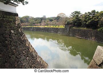 Inui moat of Edo castle in Tokyo, Japan