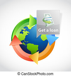 get a international loan illustration design graphic