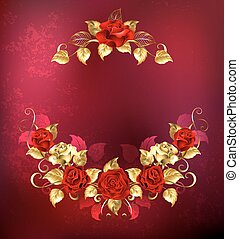 Symmetrical garland of gold and red roses - symmetrical...