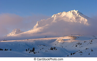 Sunset Mount Hood Cascade Range Ski Resort Area - The clouds...