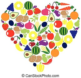 fruits veggies  - fruits and vegetables heart