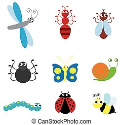 insects - illustration of set of bugs