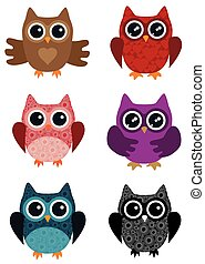 owl  - illustration of owl set