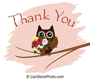 owl thanks - thank you card with owl
