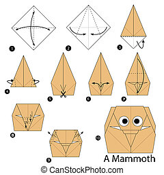 origami A Mammoth - step by step instructions how to make...