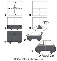 origami A Patrol Car - Step by step instructions how to make...