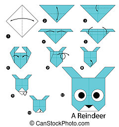 origami A Reindeer - step by step instructions how to make...