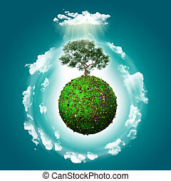 3D grassy globe with a tree and clouds - 3D render of a...