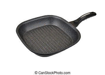 Grill frying pan, isolated on white background