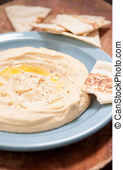 home made hummus - ground chickpea hummus with flatbreads...