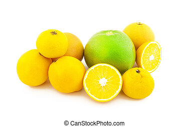 Group of citrus on a white background