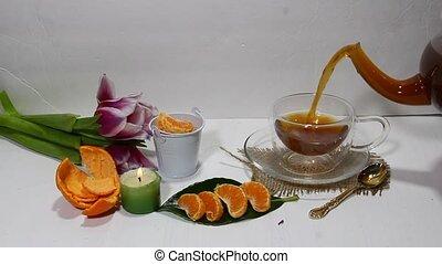 Pouring tea - Pouring black tea