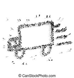 people shape car cartoon - A group of people in the shape of...