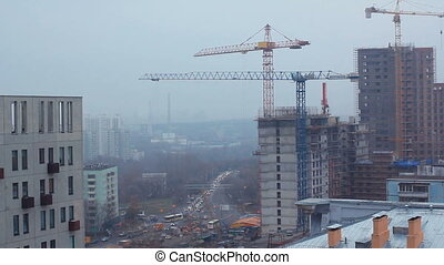 Crane and building construction. Big building construction