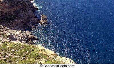 Aerial shot of the cliff line of Mallorca with deep blue water