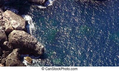 Wonderful shot of deep blue ocean water at the cliffs of Mallorca