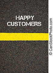 Road marking yellow line words HAPPY CUSTOMERS - Road...