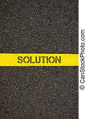 Road marking yellow line with word SOLUTION - Road marking...