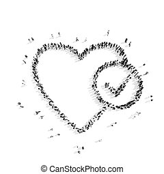 people in the shape of heart . - A group of people in the...