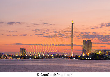Rama VIII bridge. - Rama VIII bridge Bangkok city in sunset....