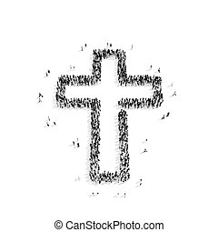 people in the shape of a Catholic cross, religion - A group...