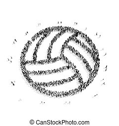 people shape volleyball sports - A group of people in the...
