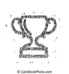 group people shape cup award - A group of people in the...