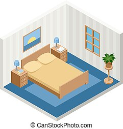 isometric bed room with furniture - Vector interior of the...