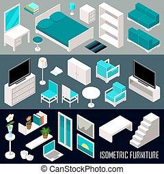 Vector isometric furniture set on the dark background