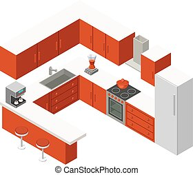 Vector isometric kitchen with red furniture