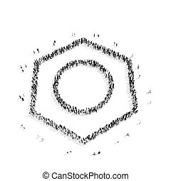 people shape nut tool - A group of people in the shape of a...