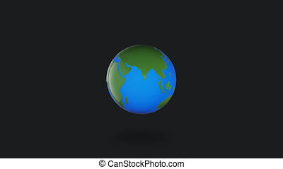Infographic planet Earth rotate on white background alpha channel
