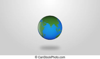 Infographic planet Earth rotate on white background - video...