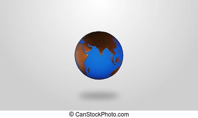Golden Infographic planet Earth rotate on white background