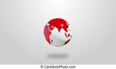 Red Infographic planet Earth rotate on white background