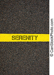 Road marking yellow line with word SERENITY - Road marking...